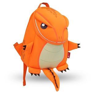 NOHOO ノーフー 子供用 リュック SMサイズ 恐竜 オレンジ ウェットスーツ 素材 キッズ かわいい 可愛い プレゼント ギフト|p-market