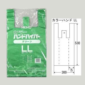 レジ袋 カラーハンドハイパー グリーン LL ポリ手提げ袋 100枚|p-maruoka
