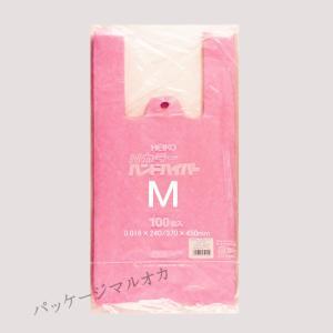 Nカラーハンドハイパー M ピンク ポリ手提げ袋 1000枚|p-maruoka