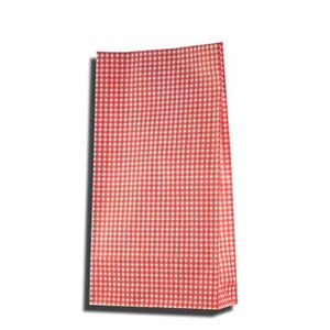 紙袋 4才 ギンガムミニ赤 柄入角底袋 100枚|p-maruoka