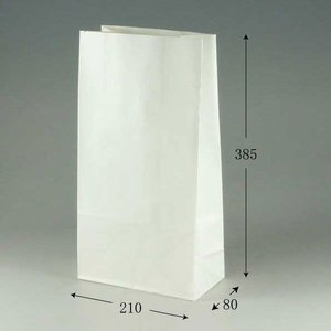 角底袋 ファンシーバッグ 4才 片艶白無地 (巾210 マチ80 高さ385 紙質片艶80g/m2 1枚重さ21g) 100枚 p-maruoka