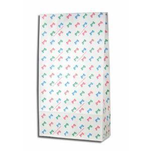 紙袋 4才 カラフルリボン 柄入角底袋 100枚|p-maruoka