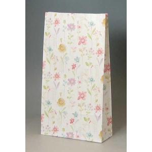 紙袋 4才 フラワーアラカルト 柄入角底袋 100枚|p-maruoka