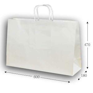 手提げ紙袋 60-2 白無地 PPロープ紐 (巾600 マチ180 高さ470) 10枚|p-maruoka