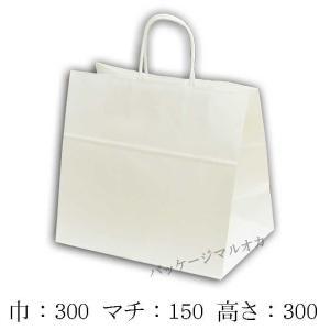 手提げ紙袋 W判 白無地 丸紐 (巾300 マチ150 高さ300 取っ手丸紐) 50枚|p-maruoka