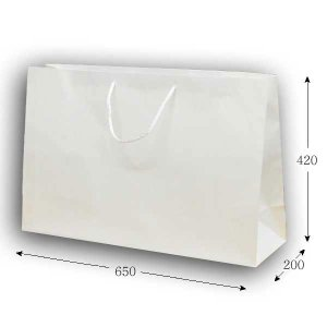 手提げ紙袋 広口CB BR-1 白無地 PPロープ紐 (巾650 マチ200 高さ420) 10枚|p-maruoka