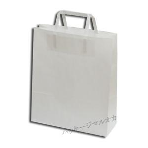 手提げ紙袋 26-4 白無地 平紐 H25CB (巾260 マチ100 高さ310) 50枚|p-maruoka
