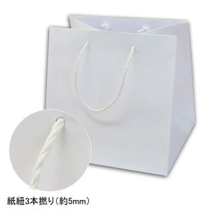 手提げ紙袋 巾広タイプ Q-300 白無地 キューブタイプ 紙紐3本撚り (巾320 マチ300 高さ330 紙3本紐(白)) 10枚|p-maruoka
