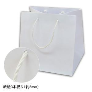 手提げ紙袋 巾広タイプ Q-330 白無地 キューブタイプ 紙紐3本撚り (巾350 マチ330 高さ360 紙3本紐(白)) 10枚|p-maruoka