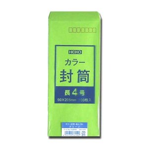 カラー封筒 長4グリーン 100枚|p-maruoka