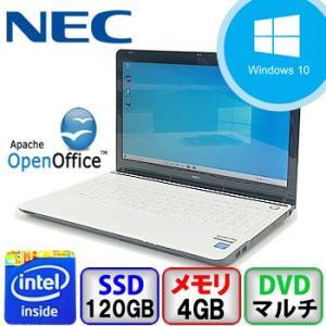 中古ノートパソコン NEC LaVie LS150/R PC-LS150RSW Windows 10 Home 64bit Celeron 1.9GHz メモリ4GB 新品120GB DVDマルチ 15.6インチ B1911N009 p-pal