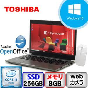 東芝 dynabook R63/D Windows 10 Pro 64bit Core i5 メモリ8GB SSD256GB Webカメラ Bluetooth 無線マウス付き中古ノートパソコン|p-pal