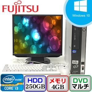 中古パソコン 液晶モニター17incセット 富士通 ESPRIMO D551/D FMVDH2A0E1 Windows 10 Pro 32bit Core i3  メモリ4GB HD250GB DVDマルチ J0613D022|p-pal