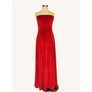 フラダンス衣装 ベロア ベアトップドレス赤 D-57-Vred p-para