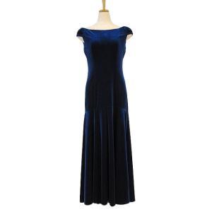 フラダンス衣装 ベロアショルダースリーブドレス ブルー D-64-Vblu|p-para