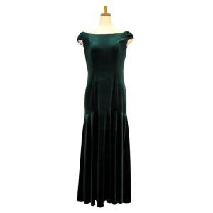 フラダンス衣装 ベロアショルダースリーブドレス グリーン D-64-Vgre|p-para
