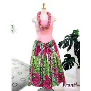 ワンピース/フラダンスドレス フラ衣装 DAI003_A0443 ピンク Mサイズ|p-para