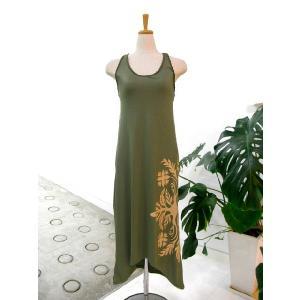 手染めマキシ丈編み込みドレス カーキ|p-para