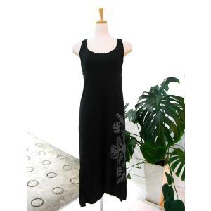 手染めマキシ丈編み込みドレス ブラック|p-para