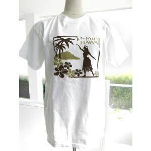 P-Paraオリジナル フラガールTシャツ ベーシックスタイルL 白(茶)/FT006|p-para