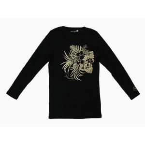 長袖ストレッチTシャツ トロピカルガーデン(ブラック) p-para