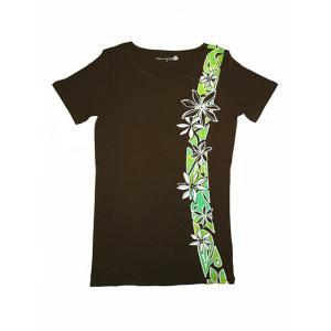 半袖ストレッチTシャツ ティアレタヒチ(ブラウン)XL有り|p-para