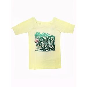 5分袖スクエアネックTシャツ スクエアリーフ(シルキーアイボリー)|p-para