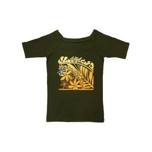 5分袖スクエアネックTシャツ スクエアリーフ(モスグリーン)|p-para