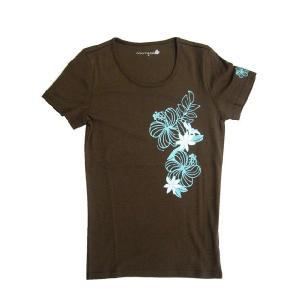 半袖ストレッチTシャツ ホアロハ(ブラウン) p-para