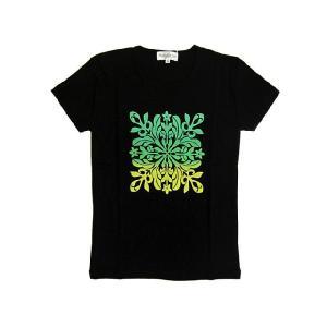 半袖Tシャツ キルト柄グラデーション (Bk/GY) p-para