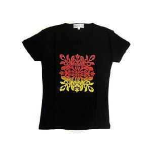 半袖Tシャツ キルト柄グラデーション (Bk/RY) LL有り|p-para