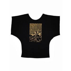 ROCO's ドルマンTシャツ レフア(ブラック×黄土色)|p-para