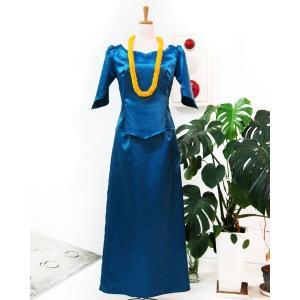 フラダンス衣装 フラドレス サテン ツーピースセット ブルー (9号) |p-para