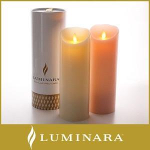 キャンドル LED ライト ルミナラ ピラー Lサイズ 3×8 WHITE box  ローズの香り|p-s