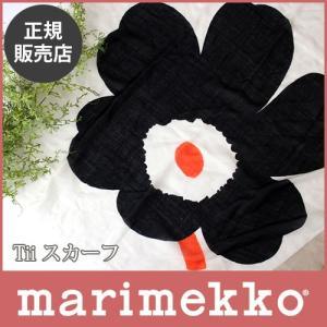 スカーフ マリメッコ 大判 Unikko ウニッコ TII ホワイト×ブラック×レッド|p-s