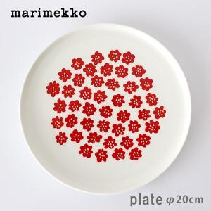 プレート 皿 マリメッコ Puketti プケッティ ラウンドプレート 20cm ホワイト×レッド|p-s