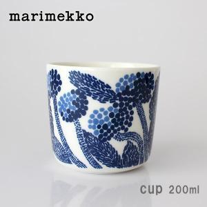 ラテマグ 単品 マリメッコ Mynsteri ミンステリ コーヒーカップ ハンドルなし ホワイト×ブルー|p-s