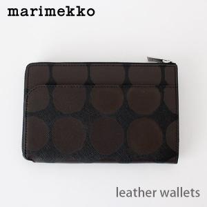 財布 革製 マリメッコ L型 財布 ファスナー Kivet キヴェット AIDA ブラック×ブラウン|p-s
