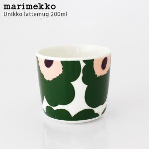 ラテマグ 単品 マリメッコ Unikko ウニッコ コーヒーカップ ハンドルなし ホワイト×グリーン×ピーチ|p-s