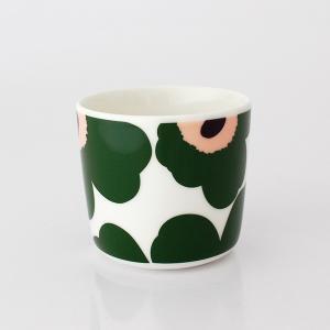 ラテマグ 単品 マリメッコ Unikko ウニッコ コーヒーカップ ハンドルなし ホワイト×グリーン×ピーチ|p-s|02