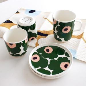 ラテマグ 単品 マリメッコ Unikko ウニッコ コーヒーカップ ハンドルなし ホワイト×グリーン×ピーチ|p-s|11