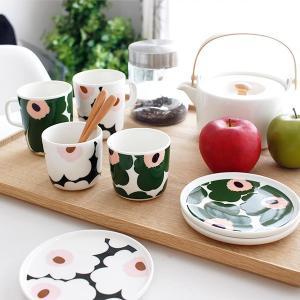ラテマグ 単品 マリメッコ Unikko ウニッコ コーヒーカップ ハンドルなし ホワイト×グリーン×ピーチ|p-s|12