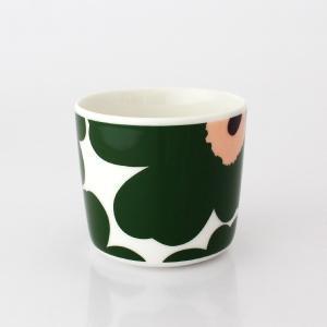 ラテマグ 単品 マリメッコ Unikko ウニッコ コーヒーカップ ハンドルなし ホワイト×グリーン×ピーチ|p-s|03