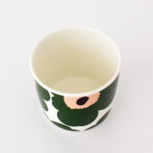ラテマグ 単品 マリメッコ Unikko ウニッコ コーヒーカップ ハンドルなし ホワイト×グリーン×ピーチ|p-s|04
