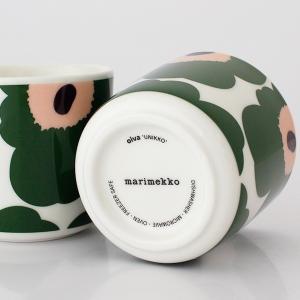 ラテマグ 単品 マリメッコ Unikko ウニッコ コーヒーカップ ハンドルなし ホワイト×グリーン×ピーチ|p-s|05