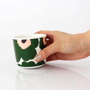 ラテマグ 単品 マリメッコ Unikko ウニッコ コーヒーカップ ハンドルなし ホワイト×グリーン×ピーチ|p-s|06