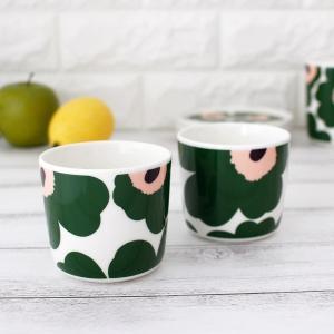 ラテマグ 単品 マリメッコ Unikko ウニッコ コーヒーカップ ハンドルなし ホワイト×グリーン×ピーチ|p-s|07