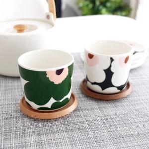 ラテマグ 単品 マリメッコ Unikko ウニッコ コーヒーカップ ハンドルなし ホワイト×グリーン×ピーチ|p-s|09