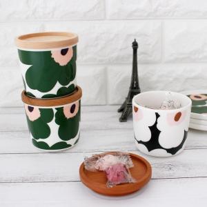 ラテマグ 単品 マリメッコ Unikko ウニッコ コーヒーカップ ハンドルなし ホワイト×グリーン×ピーチ|p-s|10