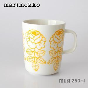 マグカップ マリメッコ Vihkiruusu ヴィヒキルース マグ 250ml ホワイト×イエロー|p-s